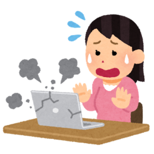 パソコンが壊れて困っている女性